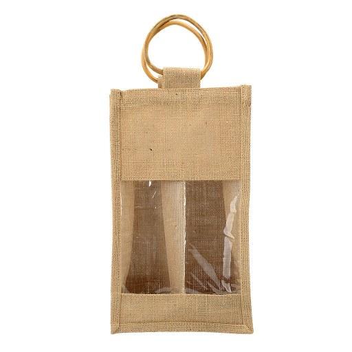 Bolsa de Yute para 2 Botellas de Vino 35x20x10 (cm) con ventana